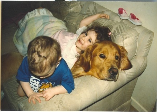 daughters, golden retriever, dog, girl, children, daughter, love, family, happiness, lynne st. james