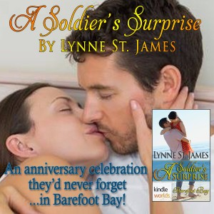 A Soldier's Surprise, Lynne St. James, Barefoot Bay, Kindle Worlds, military romance, romance, contemporary romance, baby, pregnancy, military