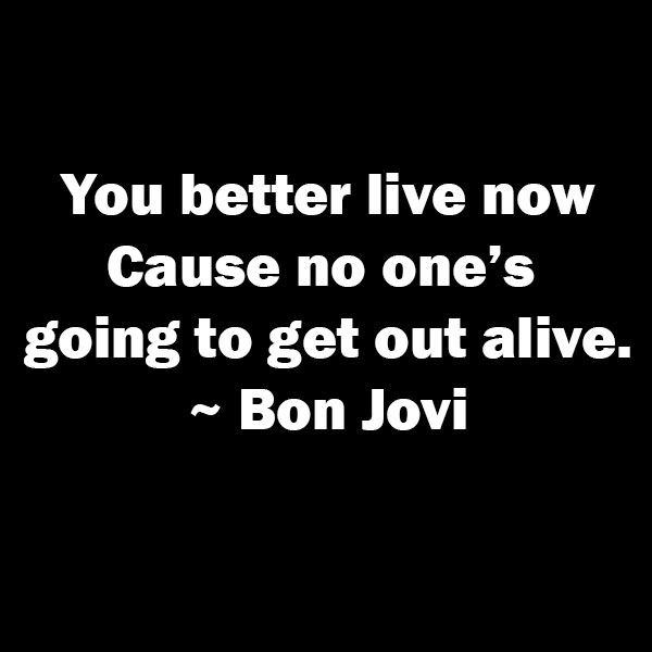 happy now, live life every day, you only have one life, new week, new beginnings, go for it, follow your dreams, lynne st. james, bon jovi,